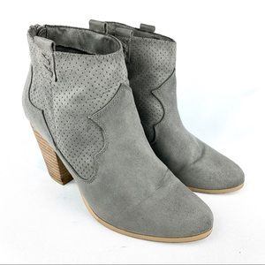 Report | Grey Suede Leather Ankle Booties